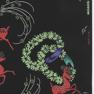 Red deer prancing with green floral garlands and white floral veils, printed on black ground. Printed in selvedge: Birge 601 Run 13.