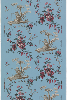 Chinoiserie, scene with man fishing alternating with rose bouquet. Printed on blue ground.