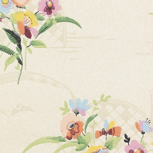 Very stylized floral bouquets and butterflies with backdrop of trellis arch. Flowing ribbons extend from arch. Printed in colors on mottled white background.