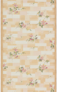 Cubist design, with small floral bouquets printed over small blocks of color. Printed on ungrounded paper.