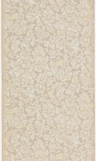All-over pattern of foliage and flowers. Printed in white and tan on brown ground.