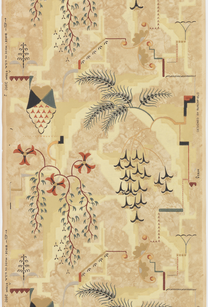 Art deco-style. Very stylized branches and foliage, interspersed with cubist motifs. Printed in green, black, burgundy, tan, yellow, gray and metallic gold on mottled tan ground. Paper is embossed with very fine horizontal wavy lines.