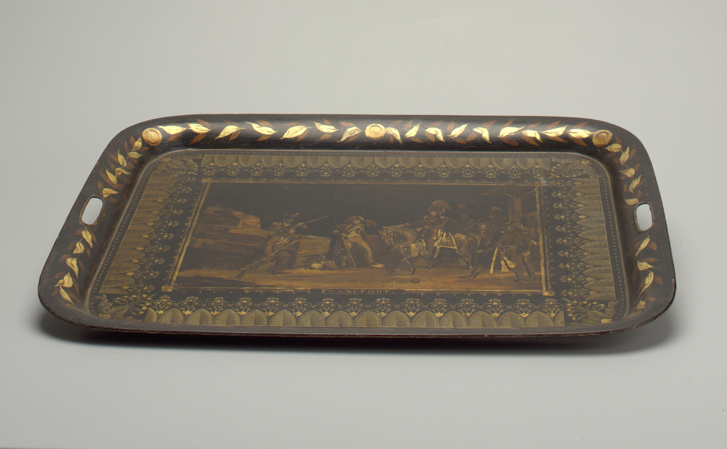 A flat tray decorated with a military scene entitled: Francfort (Frankfurt). Gilt floral border.
