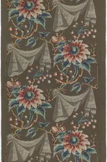 Large-scale exotic flowers alternating with draped lace fabric. Printed in colors on brown ground.