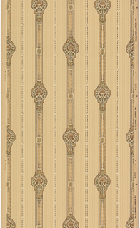 Medium-size medallions on inch wide stripe. The alternates with very narrow stripe, composed of black dashes and white rectangles. The background contains a very fine stripe pattern mimicking the narrow black stripe. Printed on a tan ground.