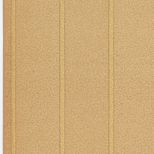Very narrow vertical stripes, printed in gold with the appearance of guilloche. The background is printed with an all-over pattern of tiny swirls in shades of tan.