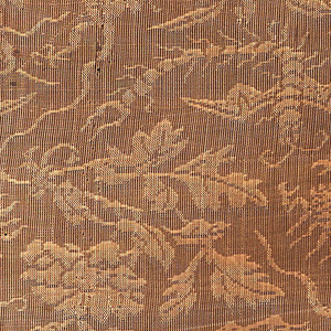 Monochrome patterned gauze with vegetal forms and incorporating poisonous beasts, such as snakes and scorpions.