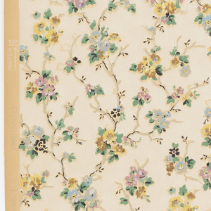 Vining floral design. Flowers printed in green, pink and yellow on white background. Paper is ungrounded.
