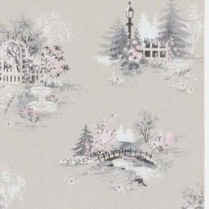 Scenic vignettes including arbor and fountain, bridge over stream and a picket fence. Printed in pink, gray, white and green on taupe ground.