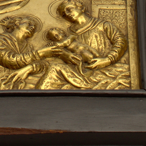 (a) Relief plaque. The Virgin seated at the right, in front of a pillar base, holding the Christ Child who slips the ring on the finger of St. Catherine, at left; (b) wooden frame, flat except for molding on inner edge, painted black.