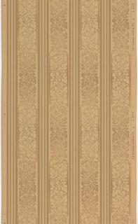 Floral stripe, with floral motifs printed in blocks, alternating between light flowers on dark background to dark flowers on light background. Four wide floral stripes, alternating with narrower striped stripes. Printed in shades of brown.