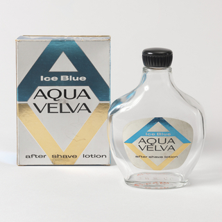 "a) Flat bottle with plastic screw-cap and paper label bearing ""Aqua Velva"" monogram and fitted legend. b) folding cardboard box bearing ""Aqua Velva"" monogram and legend. c) folding cardboard box, a smaller version of ""B"".  Labels and boxes printed in metallic blue, gold, and silver on white with black printing."