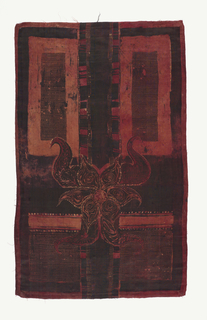 Vertical panel in a very dark composition of red and red-orange on a black ground. Vertical rectangular shapes with polka-dotted interiors in the four corners – longer at top than at the bottom. Horned motif appears between them and below the horizontal centerline.