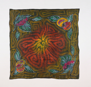 Large square scarf in a pattern of central swirling strokes in shades of red and olive green. Corners have plants with pointed leaves and fruit. The background is in shades of color from green to black. Hand hemmed.