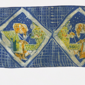 Row of diamonds each containing a scene showing seated man and woman. Blue background with ivory square lattice.