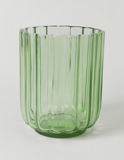 Lime green ribbed glass