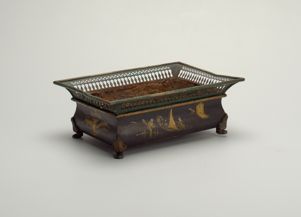 Rectangular planter, low bombe body painted black with gold and polychrome chinoiserie decoration.