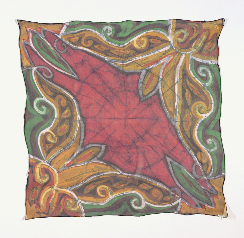 Square scarf in a multicolored pattern of large scale flowing curves from corners with red in the center. Signed in one corner. Hand hemmed.