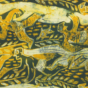 Vertical panel with swimming figures, fish and foliage in dark green, yellow and ivory.