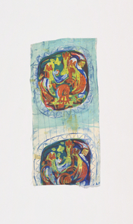 Studies for 1974-48-25 with roosters in medallions and a pale blue background.