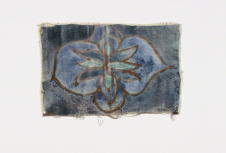 Small oblong panel of cotton-backed velvet painted in shades of blue with light brown outlines. Pattern of open abstract flowers. Unhemmed.