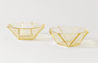 Yellow glass octogon shaped bowl