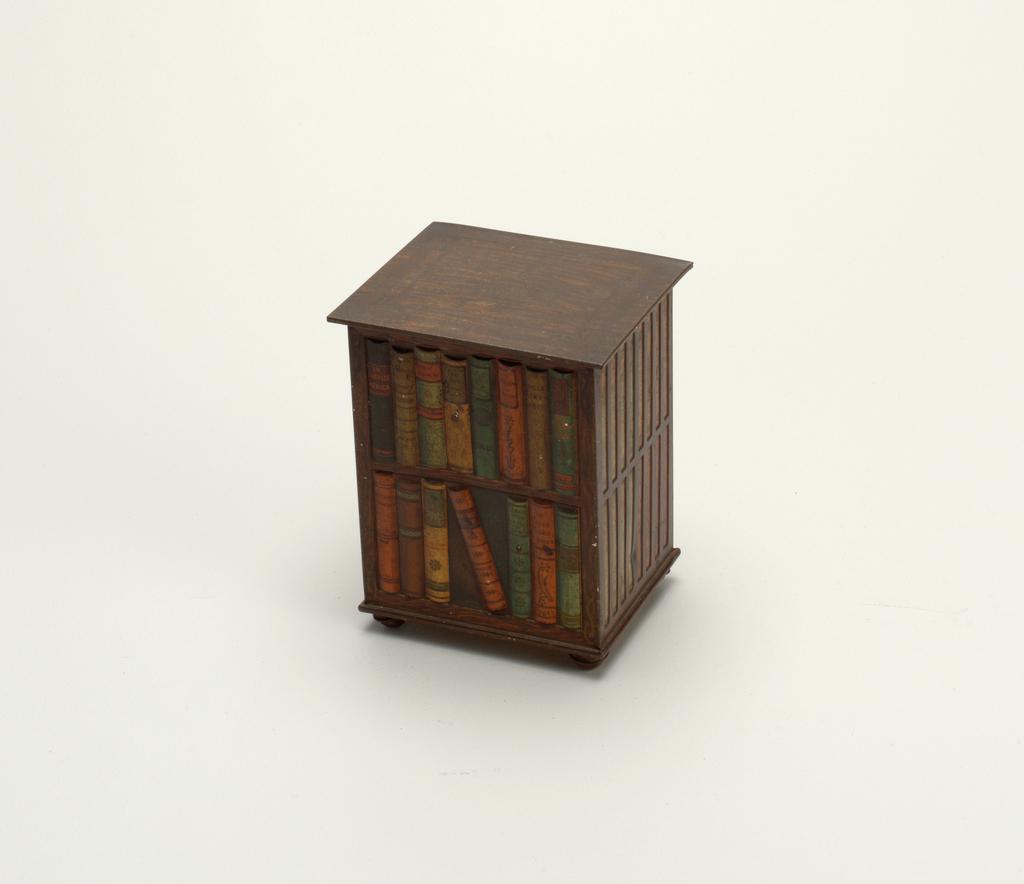 Resembling a revolving bookcase.