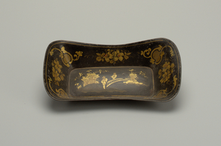 Rectangular with flaring sides. Black ground with painted chinoiserie figures and flowers.