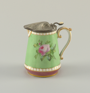 Jug with straight sides, narrowing at top and round at bottom. Open spout and scrolled handle. Relief molding at top and bottom. Apple green ground with polychrome painting of rose and pansies. Hinged, shell-shaped pewter cover.