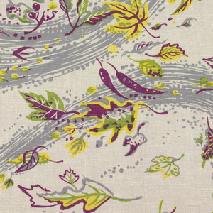 Scattered leaves in bright yellow-green, yellow, and cerise, with broad gray swirls in horizontal bands on an undyed linen ground.