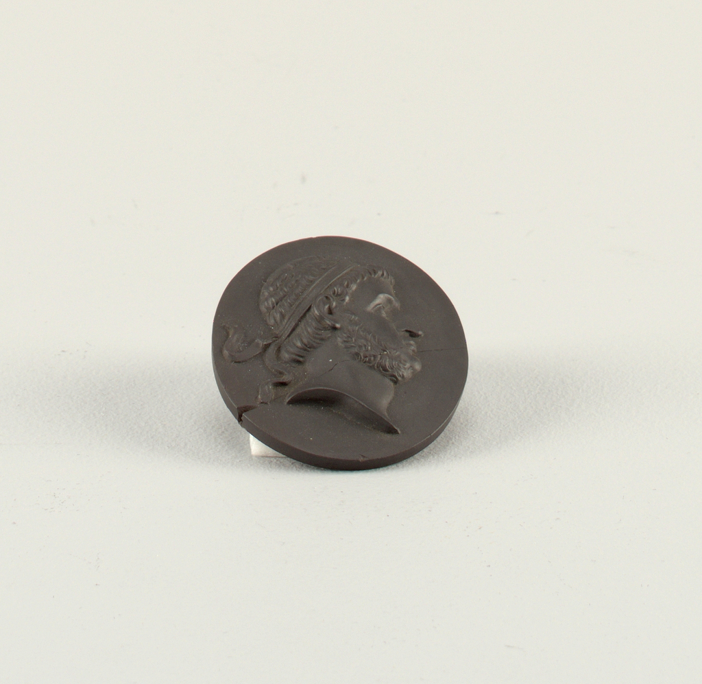 Oval, with molded border. Head and shoulder portrait, in profile to right, Prusias I, King of Bithynia (ca. 237–192 BC).