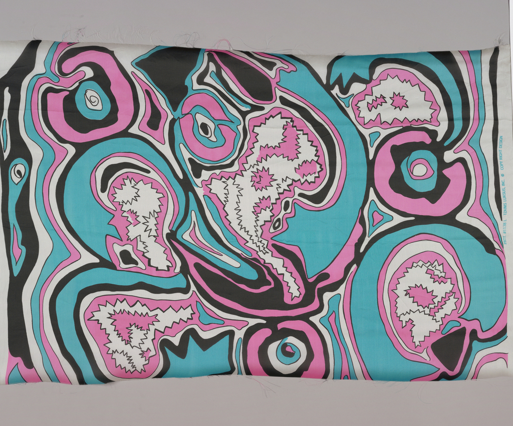 Fragment in turquoise, pink and black against white. Pattern of jagged and swirling lines in an allover design.