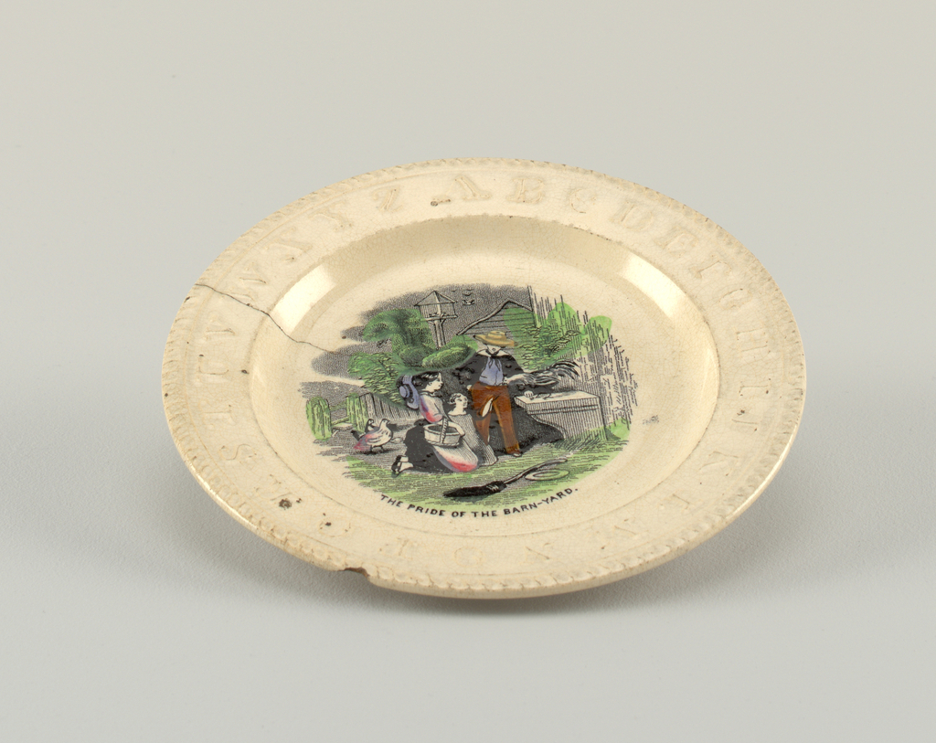 """A and B, with flat marly bearing the alphabet in relief and rope moulding on rim.  B) of """"The Pride of the Barnyard""""--three children admiring a rooster."""