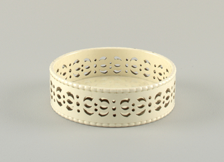 Circular, straight-walled, with beaded upper and lower edge. Pierced with repeat of curved figures alternating in position and separated by small circular holes in groups of two and three.