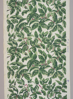 Design of leaves in red and three greens.  Probably prepared as a special request for Curt Hasenclever, an employee of Schumacher.  He used this and other textiles in classes he taught at the New York School of Interior Design.