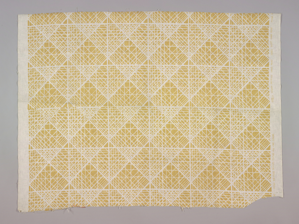 All-over design formed by lines diagonally crossed through squares; printed in pale yellow on a loosely woven white cotton cloth.