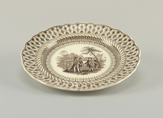 Brown glazed decoration over white. Geometric design around the rim. In the central scene are four figures, two Europeans and two Native Americans. They are surrounded by palm trees, foliage, and there are additional figures in the background.