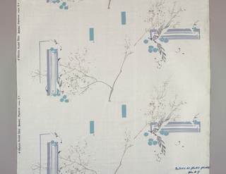 "Nine large samples showing stages in the roller printing of polychrome fabric. Final stage shows grey ground with scattered design of branches and screens in shades of green and grey, with gold. Inked onto each sample is the number of rollers used. Stamped on selvage ""A Waverly Bonded Fabric, Japonica""."