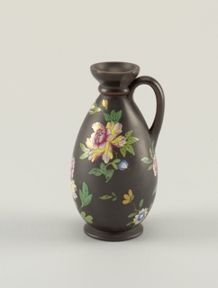Vase in lekythos shape. Flat handle, beading about neck, small foot. Floral decoration in Chinese style of chrysanthemums and leaves, with smaller flowers in colors. Dull red bands on edges of handle and about neck and mouth.