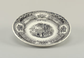 The edge of the plate is slightly scalloped. There are four scenes around the rim with one in the center. Central scene shows two figures in a garden. Black design on a white plate.