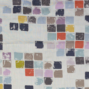 Groupings of small impressionistic squares suggesting mosaics; in shades of blue, mauve, vermilion, gold, brown, blacks on white batiste ground.