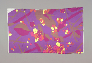 Printed in purple, pink, red, orange, green, and brown. Pattern shows an allover abstract floral design.