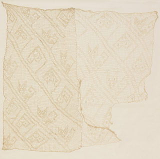 Headcloth, tabby (imitating netting), with embroidery. In shape of square, except for a section on one corner. Pieced. Very open weave resembling netting with large square meshes; in fine what creped cotton. Design: stylized cat heads projecting from long double diagonals embroidered on to the meshes in the same white cotton, with a thicker cotton bunched and knotted here and there to indicate eyes and mouth. Warps and wefts both used double, with one of the wefts in each pair looping itself around each interlacing, then continuing in the same direction as before. This weft-action gives the look of netting.