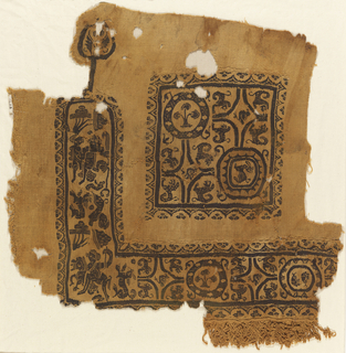 Part of a garment. Pattern of a square containing animals and floral forms. A right-angle band (clavus) with figures and the same animal and floral forms. A selvage preserved in one place. Attached wool fringe.