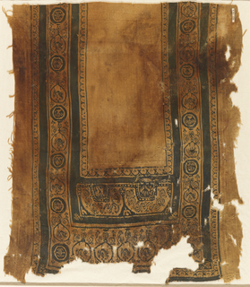 Rectangular fragment from a garment or hanging. Wide decorated vertical areas on the right and left are connected by broad decorated transverse band. Linear black intersecting arcs form the outer border. On sides, black roundels and intricately constructed linear frames rise from plant motifs. Linear frames alternately enclose plant forms, birds, confronted birds and animals, some in the direction of the warp, some at right angles to it. Plant motifs tend to form linear and sometimes pointed trefoils. In transerve band at the bottom, similar plant forms support peacocks in a row. Just above, with a dark frame, two addorsed pairs of horned animals are within black squares framed with a pearl-like band. Above, interlocking spirals worked in soumak. Embroidery in two long vertical bands at sides. Soumak used for outlines of some motifs.