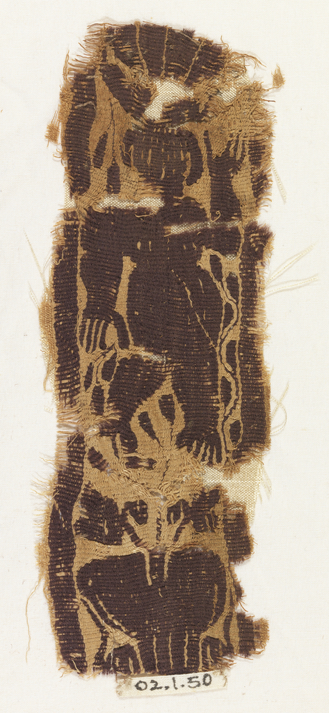 Fragment of a band with purple nude figure and a vase at the bottom.