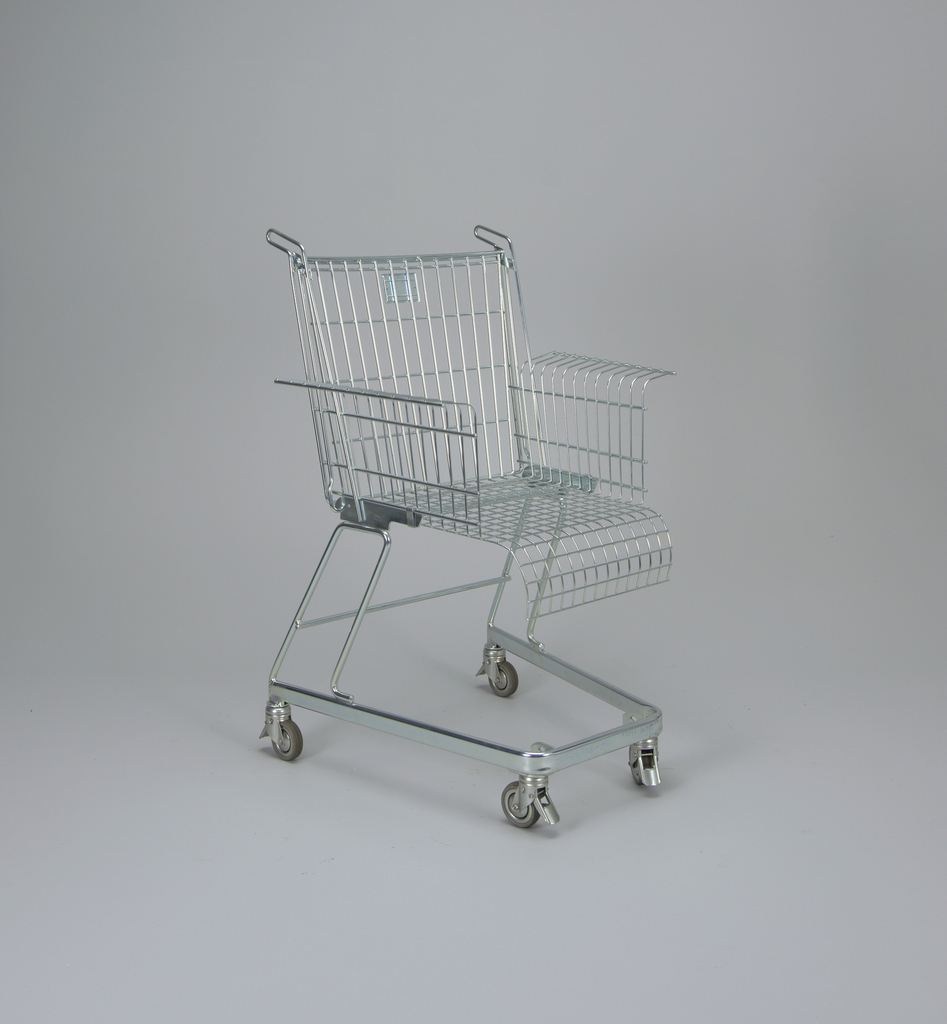 Metal chair in the form of a shopping cart.