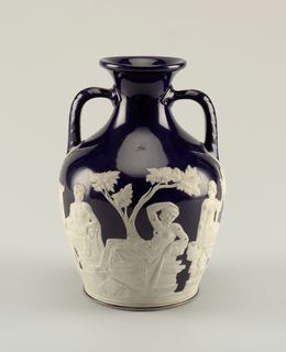 Replica of Portland Vase by Josiah Wedgwood. Bottom also decorated.