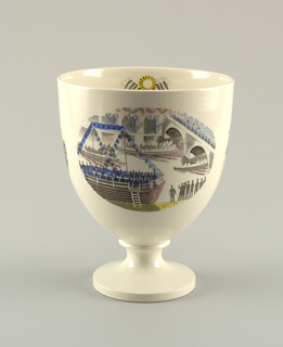 Large footed bowl with transfer-printed and hand-colored decoration in three large reserves showing scenes of a boat race and spectators; inner wall of cup with small image of a mermaid in a boat with oars and the sun shining above.