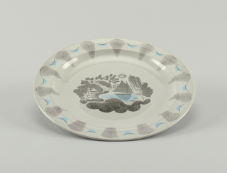 Circular form; grey ground; center of plated decorated with stylized landscape showing sailboat on lake, in gray tones, black and light blue; low, flat rim decorated with wedge-shaped sections of fine black lines alternating with small black-and-light blue arches.
